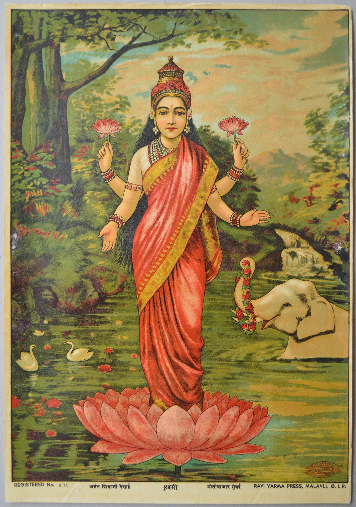 Laxmi by Raja Ravi Varma, Expressionism Printmaking, Lithography on Paper, Dirt color