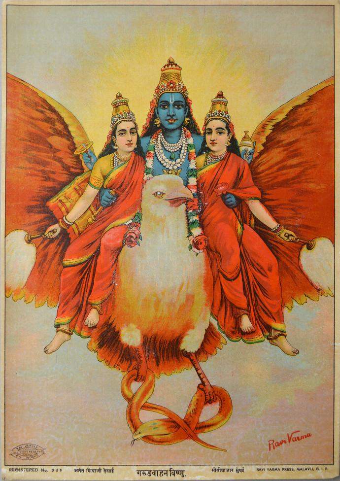 Garud Vahan Vishnu by Raja Ravi Varma, Expressionism Printmaking, Lithography on Paper, Mongoose color