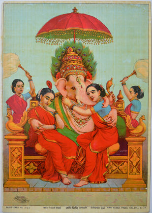 Riddhi Siddhi Ganpati by Raja Ravi Varma, Photorealism Printmaking, Lithography on Paper, Sandal color
