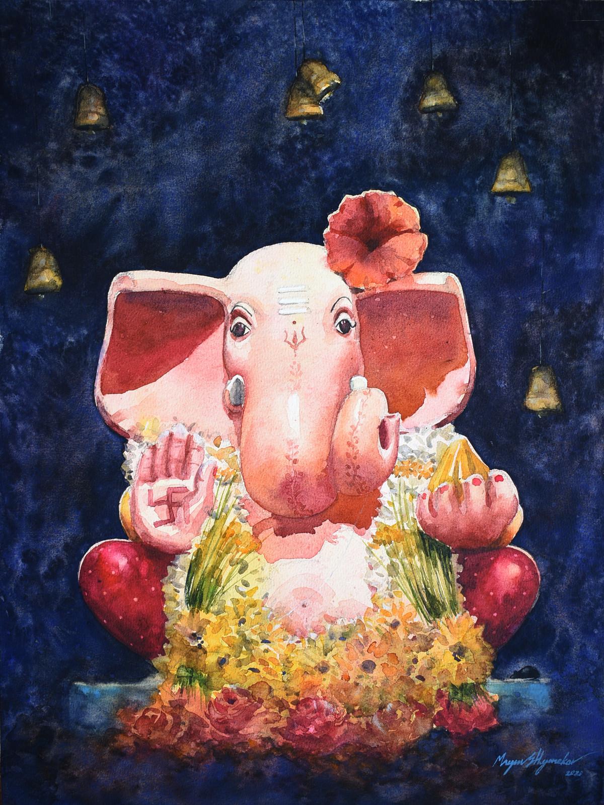 Shree by Mayur Heganekar, Realism Painting, Watercolor on Paper, Ebony Clay color