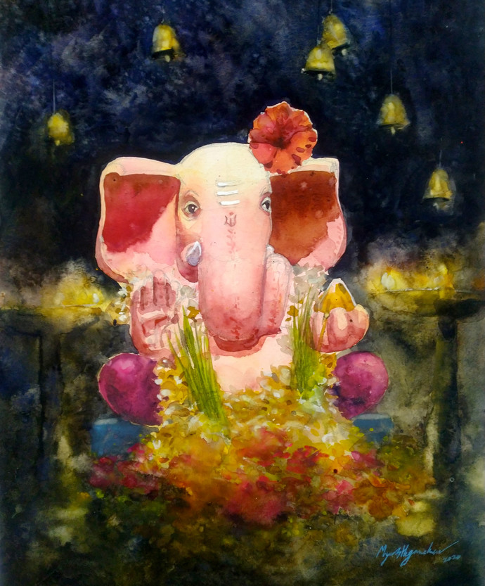 Gajanana by Mayur Heganekar, Impressionism Painting, Watercolor on Paper,
