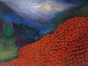 landscape of life by Aradhna Tandon, Expressionism Painting, Acrylic on Canvas, Masala color