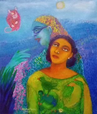 Conversation by Aradhna Tandon, Expressionism Painting, Acrylic & Ink on Canvas, Fern Frond color