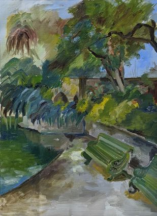 Lodhi Garden Bridge by Samiksha Gupta , Expressionism Painting, Oil on Linen, Siam color