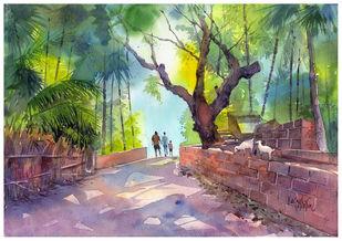 Morning by Gajanan Kashalkar, Impressionism Painting, Watercolor on Paper, Bandicoot color