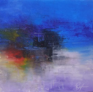 Blues reflection by M Singh, Abstract Painting, Acrylic on Canvas, Amethyst Smoke color