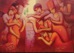 The gift by Samir Sarkar, Expressionism Painting, Acrylic on Canvas, Burnt Umber color