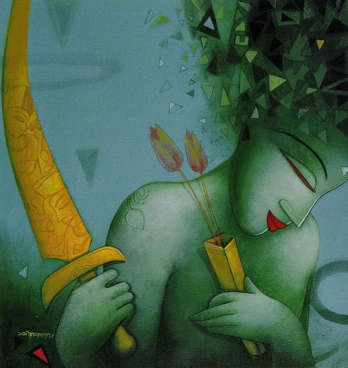 Sift by Samir Sarkar, Expressionism Painting, Acrylic on Canvas, Cutty Sark color