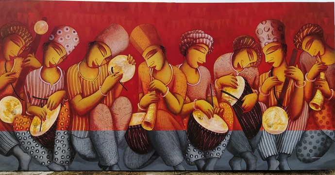 Sound 60 by Samir Sarkar, Expressionism Painting, Acrylic on Canvas, Burnt Umber color