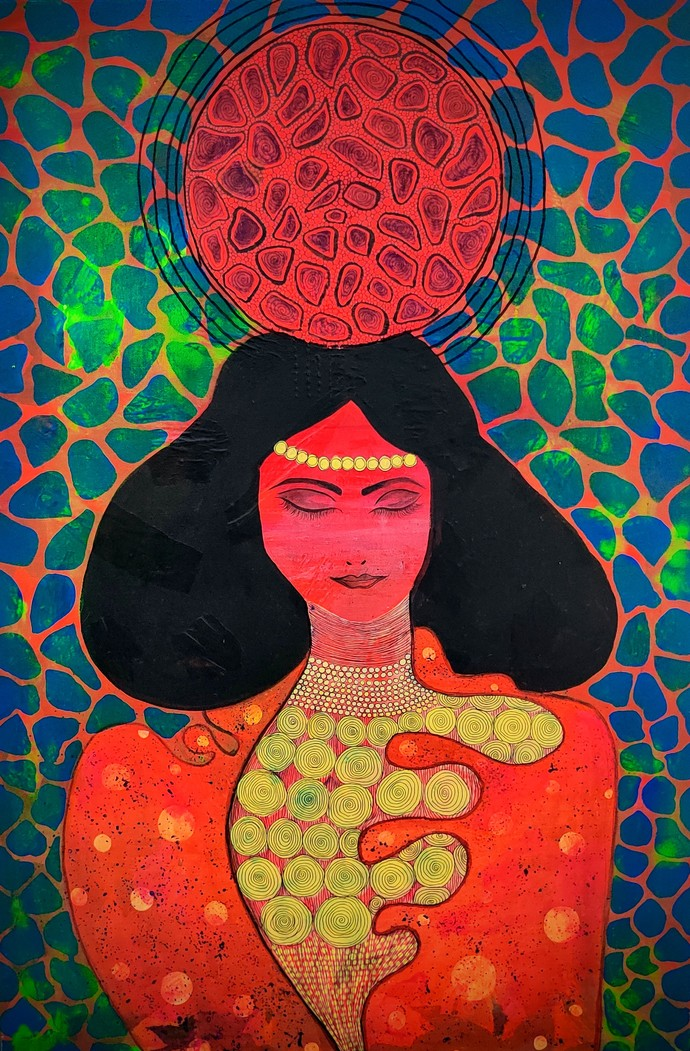Tranquility by Anissha Deshpande, Pop Art Painting, Acrylic on Canvas, Firefly color