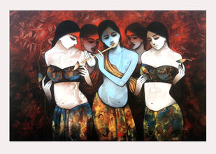Krishna enjoying the flute with Gopikaye by Mukesh Salvi, Expressionism Painting, Acrylic on Canvas, Dawn Pink color
