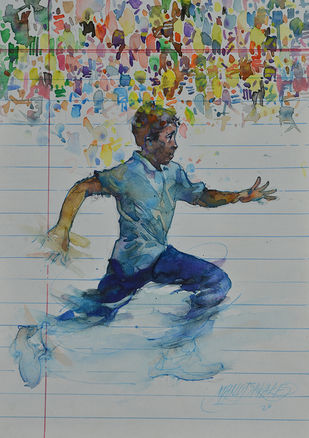 Future race by Manojkumar M.Sakale, Impressionism Painting, Watercolor and charcoal on paper, Pewter color