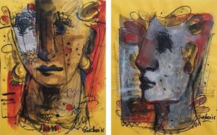 Face, Mixed Media on Paper (Set of Two) by Sekhar Kar, Expressionism Painting, Mixed Media on Paper, Shadow color