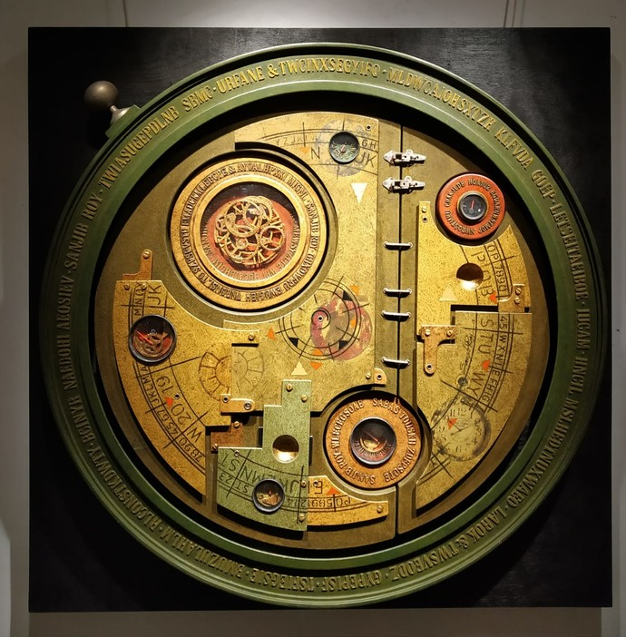 Life Time by Sanjib Roy, Art Deco Sculpture   3D, Mixed Media on Wood, Sundance color