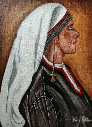 Monalisa from Kashmir -By Neeraj Raina by Neeraj Raina, Expressionism Painting, Acrylic on Canvas, Spicy Mix color