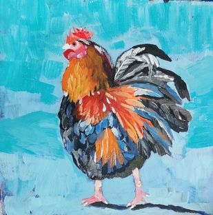 Cockerel In Jungle by Neha gupta, Expressionism Painting, Acrylic on Canvas, Bermuda color
