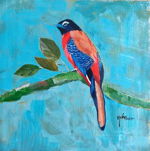 Scarlet Rumped Tanager by Neha gupta, Expressionism Painting, Acrylic on Canvas, Shakespeare color