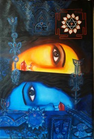 We are all same by Soma Anand, Expressionism Painting, Acrylic on Canvas, Shark color