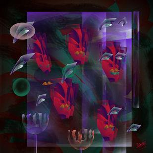Film stars Memorial by Prakash Ambegaonkar , Digital Digital Art, Digital Print on Canvas, Thunder color