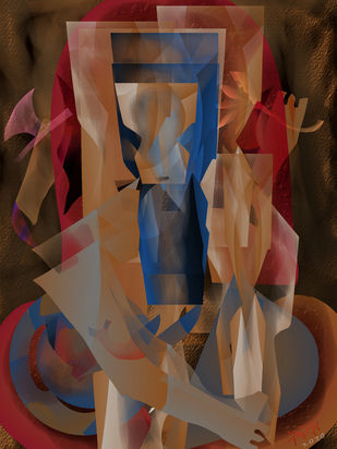 Jay Ganesha by Prakash Ambegaonkar , Digital Digital Art, Digital Print on Canvas, Quincy color
