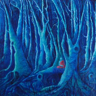 Monk in the woods by Anita Saran, Expressionism Painting, Oil & Acrylic on Canvas,