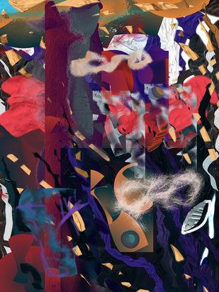 Rush Hour at the Bazar by Prakash Ambegaonkar , Digital Digital Art, Digital Print on Canvas, My Pink color