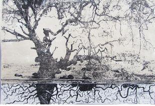 Inside of the land by KINGKAR SARKAR, Illustration Painting, Mixed Media, Quill Gray color