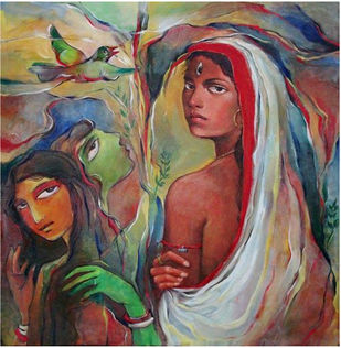 Trinayani by Saswati Chaudhuri, Expressionism Painting, Acrylic on Canvas, Cement color