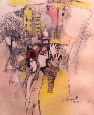 Cityscape by Saswati Chaudhuri, Expressionism Drawing, Mixed Media on Paper, My Pink color