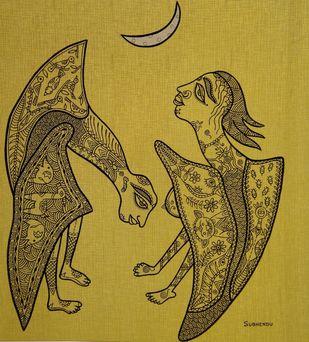 Midnight Romance by Subhendu Ghosh , Illustration Painting, Mixed Media on Board, Metallic Sunburst color