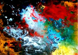 My Chasing Dreams by Neha Jain, Abstract Painting, Mixed Media on Board, Leather Jacket color