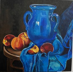 still life by Poonam Gupta, Expressionism Painting, Acrylic on Canvas, Baltic Sea color
