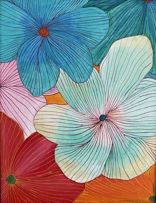 Floral by Poonam Gupta, Expressionism Painting, Acrylic on Canvas, Powder Ash color