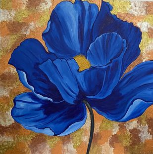 Blues by Poonam Gupta, Expressionism Painting, Acrylic on Canvas, Midnight Blue color