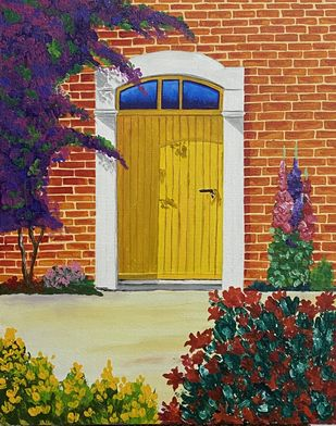 Door by Poonam Gupta, Expressionism Painting, Acrylic on Canvas, Outer Space color