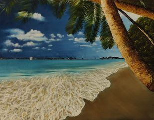 beach by Poonam Gupta, Expressionism Painting, Oil on Canvas, Mongoose color