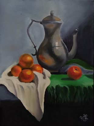 still life by Poonam Gupta, Expressionism Painting, Oil on Canvas Board, Heavy Metal color