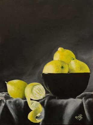 lemons by Poonam Gupta, Expressionism Painting, Oil on Canvas Board, Zeus color