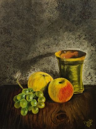 still life by Poonam Gupta, Expressionism Painting, Oil on Canvas, Birch color