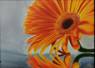 daisy by Poonam Gupta, Expressionism Painting, Oil on Canvas, Orange Roughy color