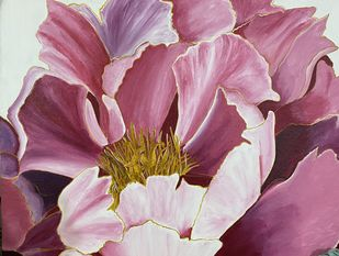 Bloom by Poonam Gupta, Expressionism Painting, Acrylic on Canvas, Pink Pearl color
