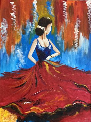 Dancing beauty by Poonam Gupta, Expressionism Painting, Acrylic on Canvas, Stiletto color