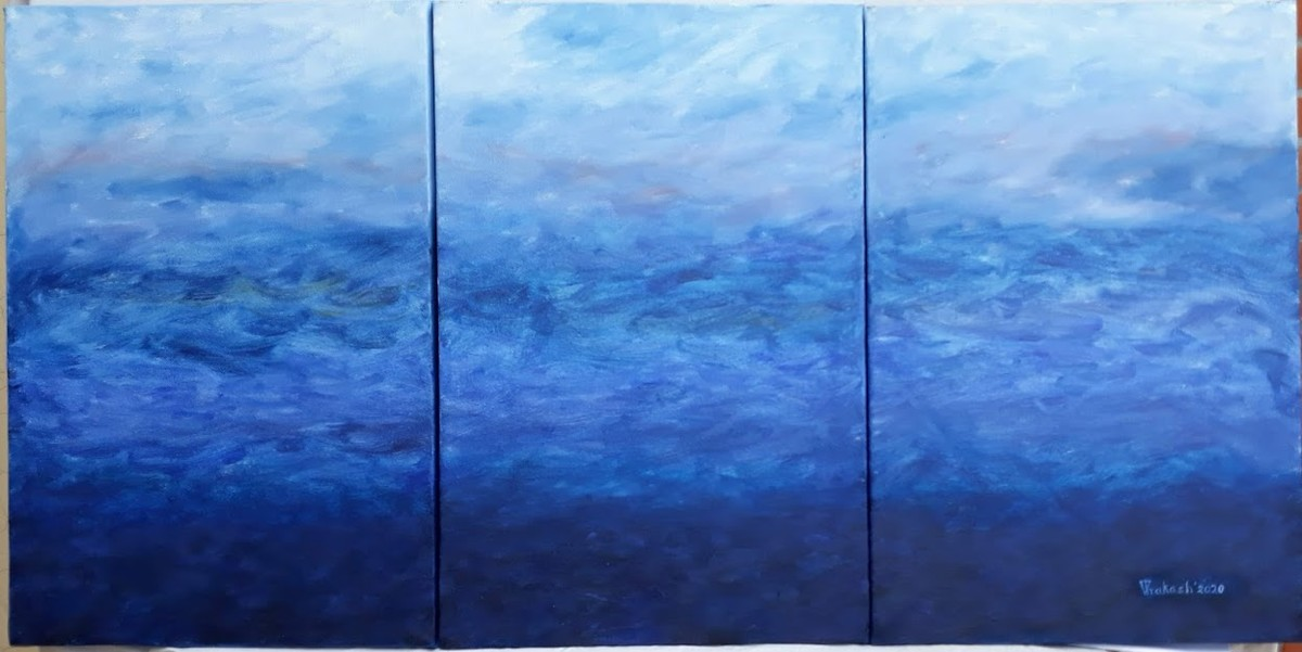 BLUE LAGOON by VINOD PRAKASH , Abstract Painting, Oil on Canvas, Lapis Lazuli color