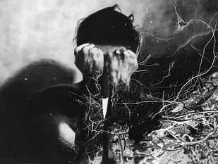Fading soul by Sarthak, Impressionism Drawing, Charcoal on Paper, Eerie Black color