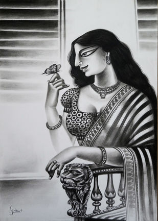 Charulata by Gautam Mukherjee, Expressionism Painting, Charcoal on Paper, Eerie Black color