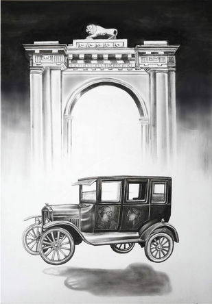 Nostalgia by Gautam Mukherjee, Expressionism Painting, Charcoal on Paper, Gray Nurse color