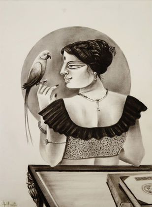 Charulata with parrot by Gautam Mukherjee, Expressionism Painting, Charcoal on Paper, Zeus color