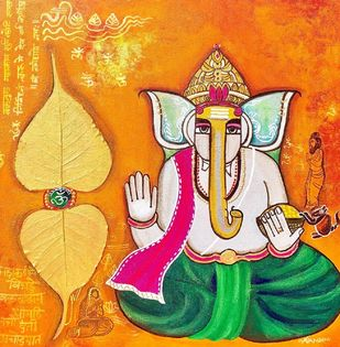 Ganesha Bhakti by Nandini, Decorative Painting, Mixed Media, Green Pea color