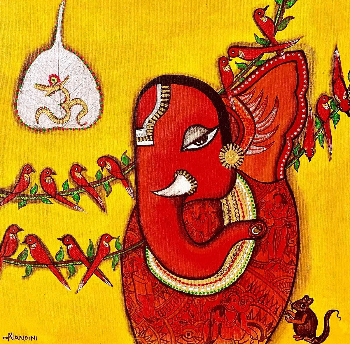Ganesha Bhakti [dna32] by Nandini, Expressionism Painting, Mixed Media on Canvas, Ripe Lemon color