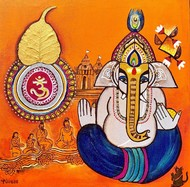 Ganesha Bhakti [dna4] by Nandini, Expressionism Painting, Mixed Media on Canvas, Martinique color